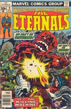 The Eternals 9 Marvel Comics For Sale Jack Kirby Marvel Comics, Marvel Comic Universe, Marvel Comic Books, Marvel Fan, Comic Book Characters, Comic Character, Comic Books Art, Comic Art, Comics Universe
