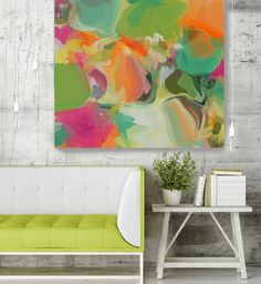 Simply Gratitude 1. Green Orange Abstract Art, Wall Decor, Large Abstract Colorful Contemporary Canvas Art Print up to 48 by Irena Orlov  Abstract Bright Colorful Giclée Canvas Painting Art Print – 7 Sizes Available, Extra Large Abstract Painting Print up to 48, Abstract Contemporary Art, Modern Art, Abstraction by Irena Orlov  Abstract Wall Art Decor for Home, Office or Hotel  Truly mesmerizing, it will add a pretty pop of color to any space, this is my Abstract Painting – a canvas print of…