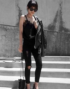 A Lacy Black Tank, Black Jeans, Black Heels, and a Leather Jacket Simple Fall Outfits, Summer Outfits, Black Heels Outfit, Ootd, Ladies Dress Design, Minimalist Fashion, Passion For Fashion, Black Jeans, Street Style