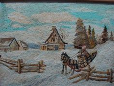 It is signed on the lower right G.T , George Edouard Tremblay, a Canadian well known artists born in 1902 in Baie St. Paul Que. The work is in excell Vintage Hooks, Art Mat, Hand Hooked Rugs, Wool Art, Snow Scenes, Traditional Rugs, Rug Hooking, Carpet Runner, Primitive