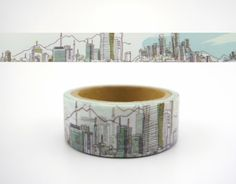 A fantastic cityscape washi tape! Beautiful skyscrapers and mountains! Measures 1.5cm x 5m! Perfect for scrapbooking, card making, and many other