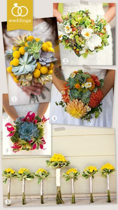 Unique Succulent Bridal Bouquets