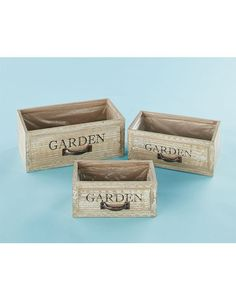 This Set of 3 Vintage Drawer Planters has the charming look of repurposed furniture. Each planter is intentionally distressed for even more rustic appeal.