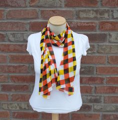 Checked Scarf - Black, Orange, Yellow, White - Lightweight Scarf for Spring and Fall