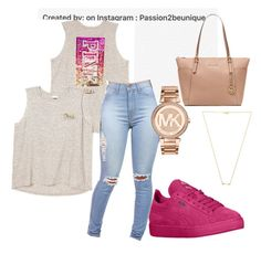 """""""Pink outfit"""" by razhanewiggins on Polyvore featuring Michael Kors, Wanderlust + Co, women's clothing, women, female, woman, misses and juniors"""