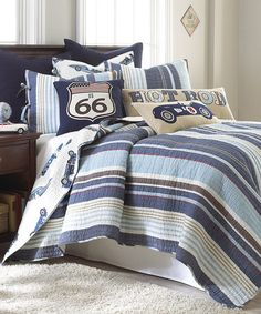 This Hot Rod Quilt Set by Levtex Home is perfect! #zulilyfinds boy bedding route 66 cars