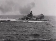 KMS Gneisenau firing after turret toward the British carrier, Glorious June 8, 1940.