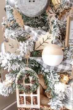 A Farmhouse Style Christmas Tree | Simply Beautiful By Angela Flocked Christmas Trees, Woodland Christmas, Beautiful Christmas Trees, Natural Christmas, Rustic Christmas, Christmas Home, Xmas, Farmhouse Christmas Trees, French Christmas