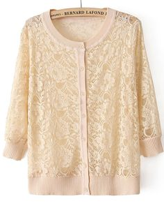 Apricot Long Sleeve Embroidery Lace Cardigan US$23.61