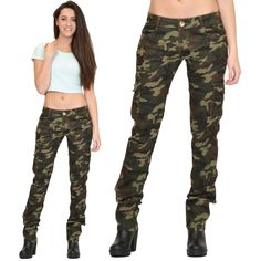 Womens Army Military Green Camouflage Slim Fit Combat Trousers Cargo Pants Jeans in Clothes, Shoes & Accessories, Women's Clothing, Trousers | eBay