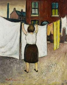 Washing day by Alan Lowndes. Irish Painters, Laundry Art, Art Periods, English Artists, Day Work, Female Art, Hanging Out, Painting & Drawing, Illustration Art