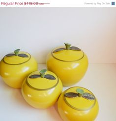 On  S A L E... Vintage Yellow Apple Canisters by JudysJunktion