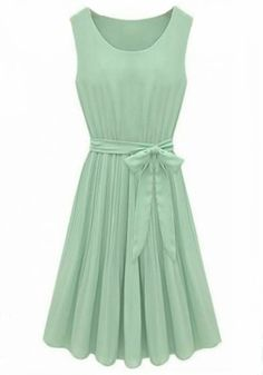 Homecoming?- Green Plain Sleeveless Pleated Belt Wrap Chiffon Dress