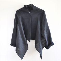 Veste drapée manches longues en lin épais gris