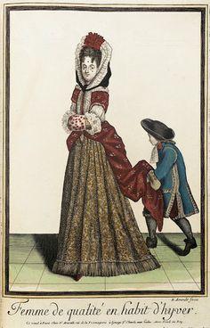 Winter mantua and petticoat, 'Recueil des modes de la cour de France', 1670-1693.