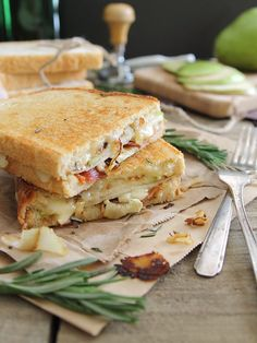 Pear Bacon and Brie Grilled Cheese Panini on Sourdough.