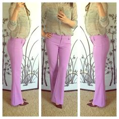 "Purple stretch pants Unique stretch pants in purple. My stats: 5'6"", 120 lbs, 34c-25-35. New York & Company Pants Boot Cut & Flare"