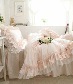 2361df2d0e US $168.0  Aliexpress.com : Buy Pure White Cotton Korean Style Luxury  Princess Wedding Home Beding 4pcs Sets Super king size Duvet cover Ruffle  Bedskirt ...