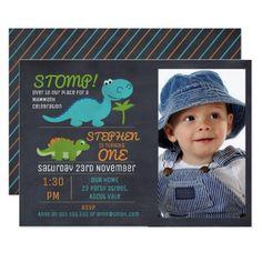 Boys Photo Chalkboard Dinosaur Birthday Invitation