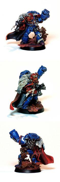 "Sergeant Janvs, leader of my Ultramarines Tactical squad ""Vespero"". Third Company, IV Squad."
