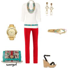 Skinny Jeans with Aqua and Orange :) love the colors... i would wear it anyday..... for my daughter