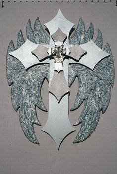 "Angel Wing Cross with embedded fleur de lis by davinciandvine, good wedding gift or home decor item. Popular ice blue. 23""H 17""W"