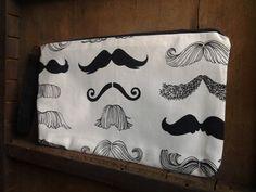 Mustache Wristlet Zipper Bag by GymboHannah on Etsy, $15.00