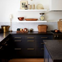 44 fascinating small kitchen wall shelves ideas that look more comfort 23 - ideasfyou % Kitchen Cabinet Colors, Kitchen Paint, Home Decor Kitchen, Rustic Kitchen, Kitchen Interior, New Kitchen, Kitchen Cabinets, Black Cabinets, Kitchen Grey