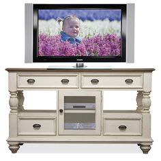 Coventry Two Tone 4 Drawer Tall TV Console with Framed Glass Door by Riverside Furniture - Hudson's Furniture - TV or Computer Unit Tampa, St Petersburg, Orlando, Ormond Beach