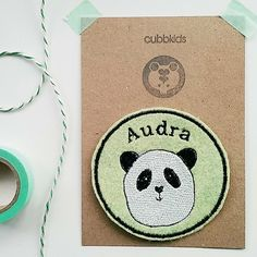 Personalised Embroidered Name Patch. Custom Name Patch. Panda Embroidery.  Panda Patch. Personalized