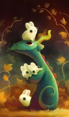 "Heather Gross (Heathersketcheroos), ""I Haz Bunnies"". Have you ever sworn your heart stopped for just a moment when you saw a picture of a blissfully happy dragon with a bunch of the most adorable, lightly fuzzy, softly rounded, bulgy-eyed white bunnies you'd ever seen? I have, and do."