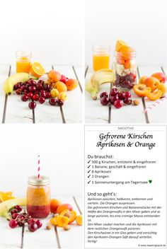 Smoothie Gefrorene Kirschen, Aprikosen & Orange I Smoothie Frozen Cherries, Apricots & Orange