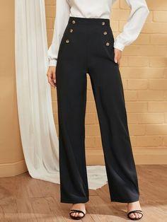 Alexandra top qualité british made caché taille élastique pantalon bleu marine.