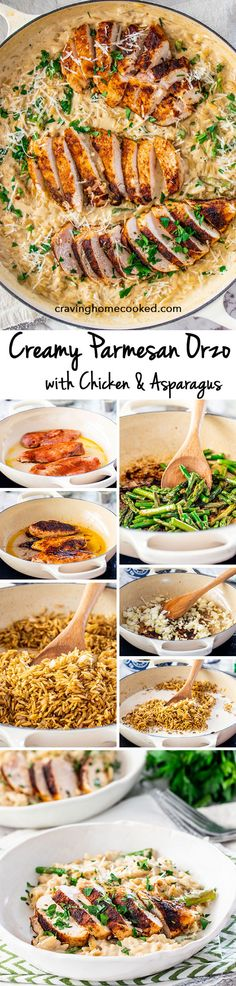 Quick and delicious Creamy Parmesan Orzo with Chicken and Asparagus that can be on your dinner table in only 30 minutes! Cheesy, creamy, delicious goodness! #parmesanorzo #chicken #30minutemeals Pasta Recipes, New Recipes, Chicken Recipes, Dinner Recipes, Favorite Recipes, Healthy Recipes, Cooking Recipes, Recipies, Dinner Ideas