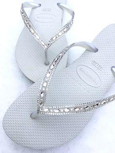 bfde96a55 Havaianas Slim White Crystal Rhinestone Beach Wedding Flip Flops Blushing  Bride Custom w  Swarovski jewels Beach Bridal Bling Reception Shoe