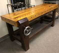 Hefty Woodworker& Workbench with Leg & Tail Vises - Solid Oak and Ipe woodworking Woodworking Bench Plans, Woodworking Furniture, Woodworking Projects, Woodworking Guide, Workbench Designs, Workbench Plans, Garage Workbench, Workbench Organization, Garage Atelier