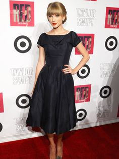Taylor Swift. Black dress. Modest. Fashionable. that's what i like about Taylor, mostly modest, not totally immodest.