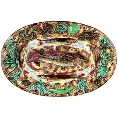 Antique French Palissy Majolica Fish Tray or Charger | From a unique collection of antique and modern sculptures at https://www.1stdibs.com/furniture/decorative-objects/sculptures/