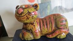 Vtg MCM MOD Paper Mache Tiger Cat modern  Pride Coin Bank Orange Gold