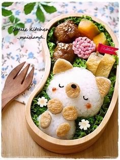 A solemn and tidy bento cat, resting in her nest of lettuce! Bento Kawaii, Cute Bento Boxes, Bento Box Lunch, Bento Food, Cute Food, Yummy Food, Healthy Food, Bento Kids, Japanese Food Art