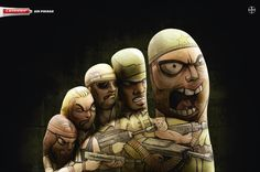 Canesten – SAMURAIS by JWT - The Print Ad titled SAMURAIS was done by JWT advertising agency for product: Canesten (brand: Canesten) in Peru. It was released in the Jan 2009. Business sector is: Point of Purchase: Small Scale.
