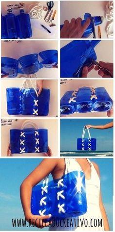 Hermoso bolso playa hecho con botellas de plástico / http://elmundodelreciclaje.blogspot.com.es/