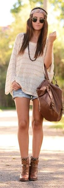 Boho Hippie Outfit Ideas. Love a light weight sweater with shorts and boots