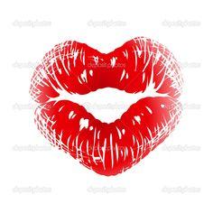 beso grabado en forma de corazón - Ilustración de stock: 4209137