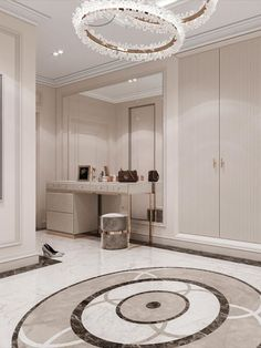 An amazing and mesmerizing design by Domoff Interirors! #designinspiration #designideas #interiordesign #interiorinspirations #designgoals #marble #closet #closetdesign #luxurycloset #stool #armoire #dressingtable #mirror #vanity Modern Classic Bedroom, Mirror Vanity, Luxury Closet, Armoire, Stool, Marble, Design Inspiration, Interiors, Contemporary