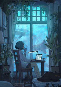 e-shuushuu kawaii and moe anime image board Art And Illustration, Art Illustrations, Inspiration Art, Art Inspo, Motivation Inspiration, Pretty Art, Cute Art, Pretty Fish, Bel Art
