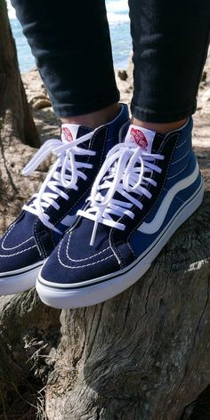 8739d9e8f8 Stand out from the crowd in the Navy White Vans Sk8-Hi. Shop