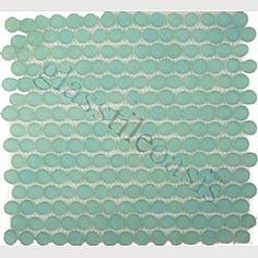 aqua mini pebbles backsplash tile