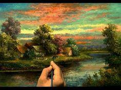 Oil Painting Landscape Moonlight By Yasser Fayad ياسر فياض - YouTube