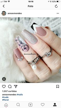 Uñas 3d Nails, Pink Nails, Cute Nails, Pretty Nails, Cute Nail Art Designs, Ballerina Nails, Flower Nail Art, Best Acrylic Nails, Elegant Nails